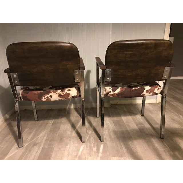 Mid-Century Faux Cowhide Chairs - A Pair - Image 7 of 8