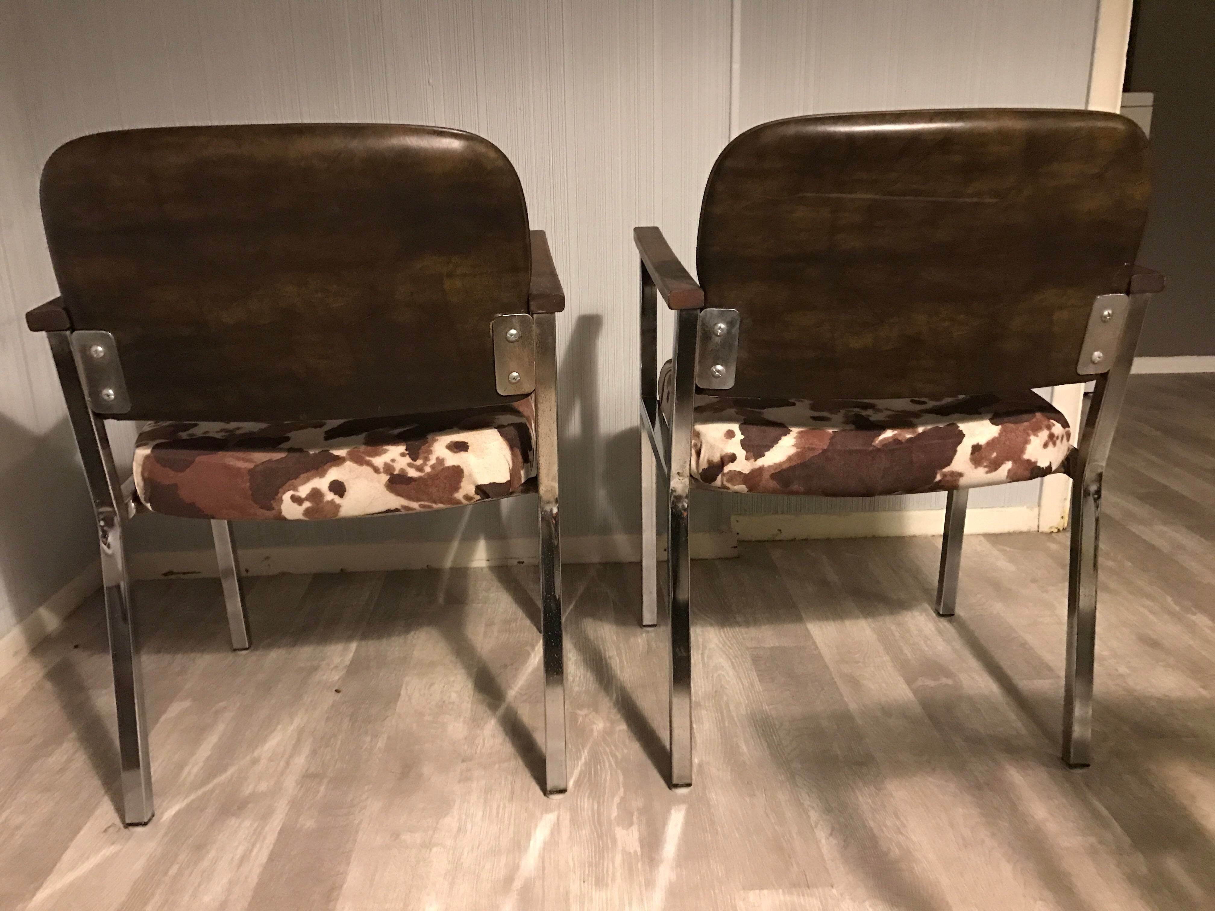 Mid Century Faux Cowhide Chairs   A Pair   Image 7 Of 8