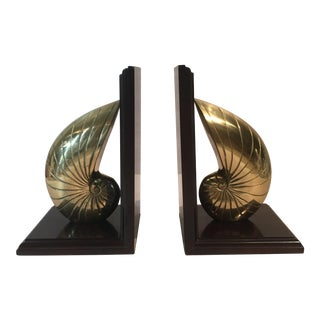 Vintage Brass Nautilus Shell Bookends - A Pair