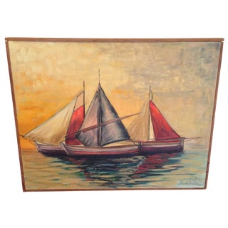 Mid Century Colorful Sailboats Painting