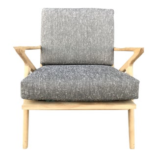 Mid-Century Bleached Wood and Tweed Z Chair