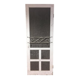 Vintage White Wood Country Screen Door