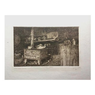 "Vintage Etching ""The Old Cabin Stove"" by Purcell"
