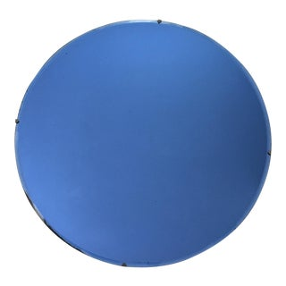 Vintage Large Art Deco Blue Glass Round Beveled Mirror, 1930s