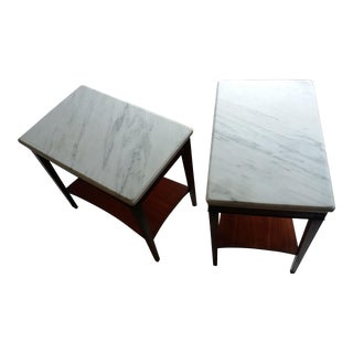 Pair Of Marble Top Cherry Wood Side Tables