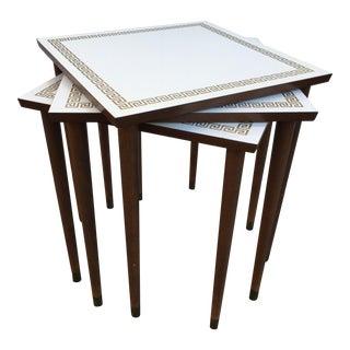 Mid-Century Artex White Laminate Greek Key Nesting Tables - Set of 3