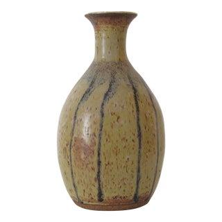 Tall Lipped Blue & Tan Vase
