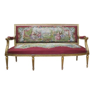 French Louis XV Style Settee with Wool Needle Upholstery