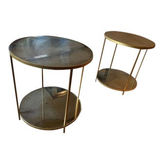 Oly Jonathan Round Iron Side Tables - A Pair