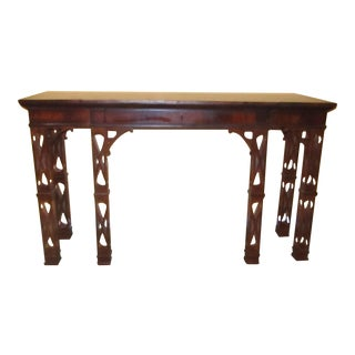Tall Console by Royal Manor with Carved Legs, Fretwork