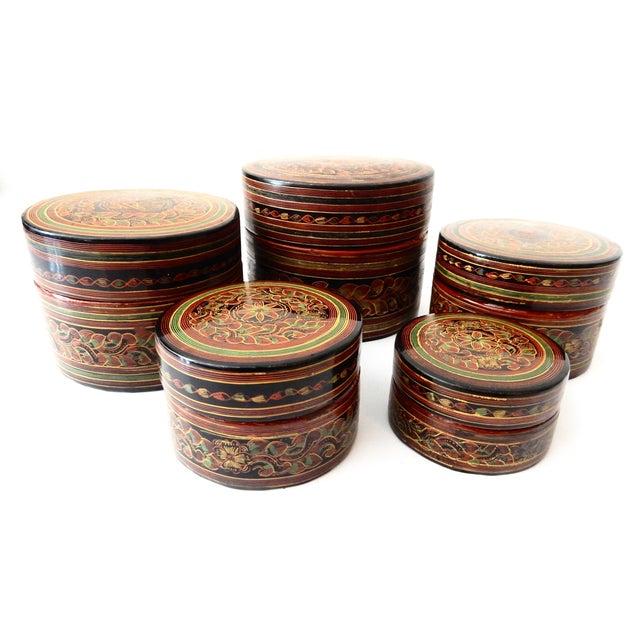 Burmese Lacquerware Betel Nut Boxes - Set of 6 - Image 4 of 8
