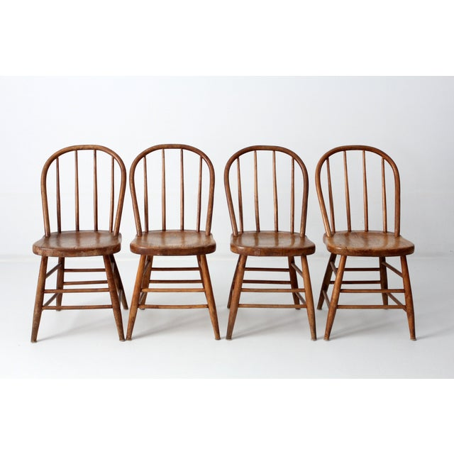 Antique Primitive Spindle Back Dining Chairs S 4 Chairish