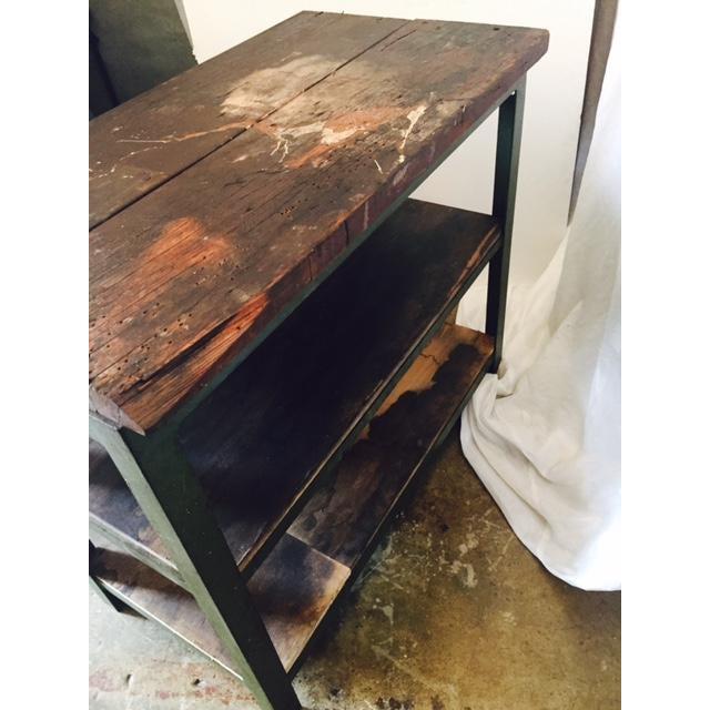 Vintage Steel and Wood Industrial Table - Image 6 of 6