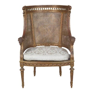 Vintage French Louis XVI Style Rams Head Cane Chair