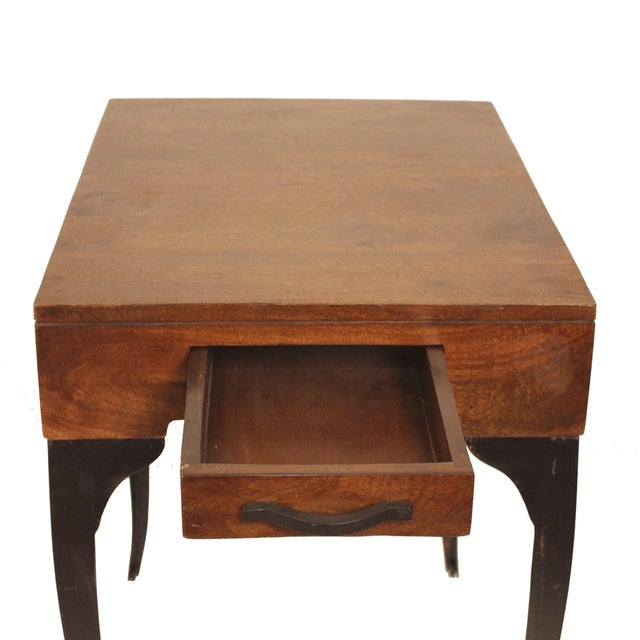 Square Accent Side End Table Storage Drawer Wood Metal for Sofa Living Room - Image 4 of 5