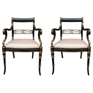 Pair of Regency Style Ebonized and Parcel Gilt Armchairs