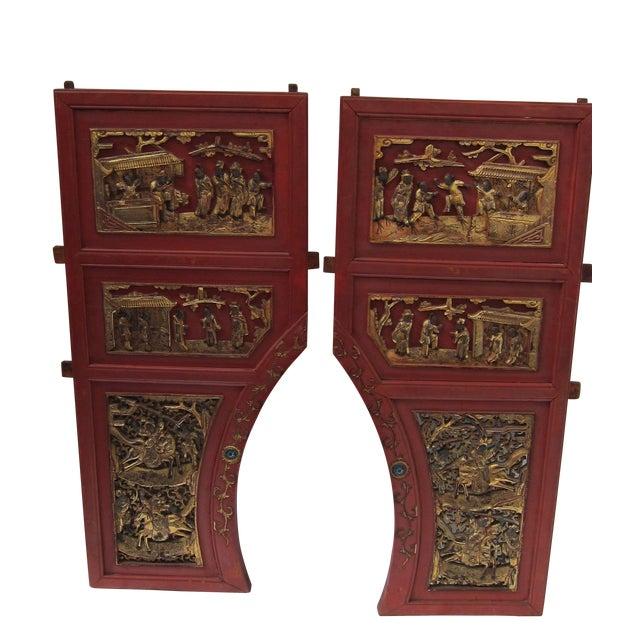 Pair of Asian Door Fragments - Image 5 of 5