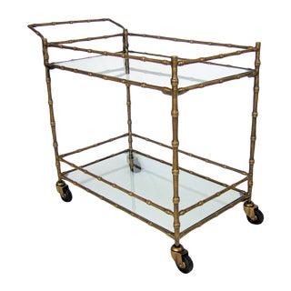 Faux Bamboo Contemporary Bronze Bar & Drink Cart
