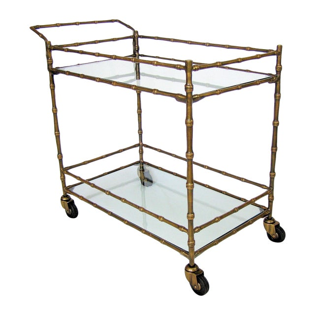 Faux Bamboo Contemporary Bronze Bar Drink Tea Cart Mid