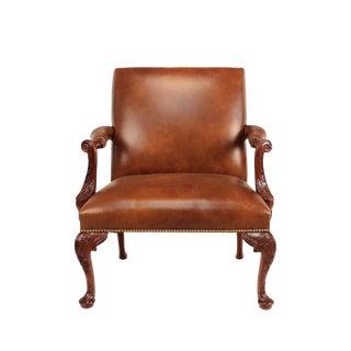 Georgian Cabriole Leather & Mahogany Armchair