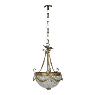 Petite French Cast Bronze Empire Style Beaded Chandelier