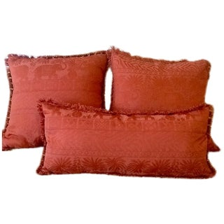 Vintage Jacquard Elephant Throw Pillows - Set of 3