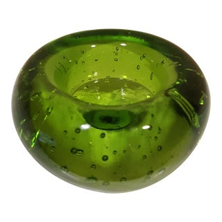 Green Bubble Glass Candle Holder