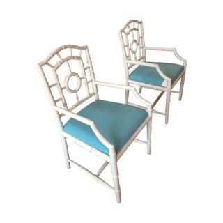 Palm Beachy Faux Bamboo Armchairs - A Pair