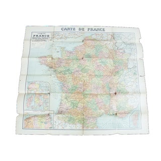 Antique 1920s Wall Map of France