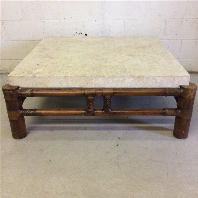 Henredon Mactan Stone Top Bamboo Coffee Table Chairish