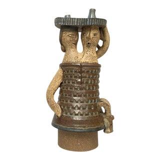Scandinavian Modern Two-Headed Woman Ceramic Sculpture