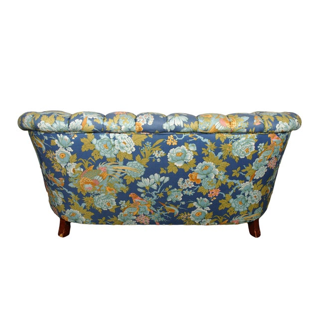 Tufted Loveseat with Parrot Upholstery - Image 3 of 5