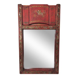 "Red Lacquer ""Canton"" Scroll Wall Mirror"