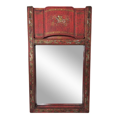"""Image of Red Lacquer """"Canton"""" Scroll Wall Mirror"""