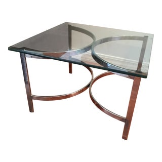 Chrome & Glass Square End Table