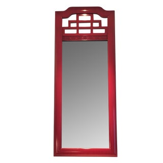 Red Lacquered Chinese Chippendale Mirrors - A Pair