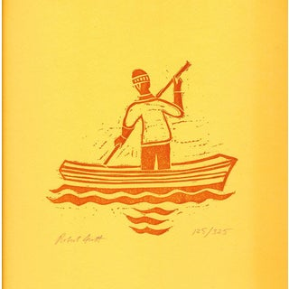 Robert Scott-Untitled (Sailor paddling)-1980 Woodblock-SIGNED