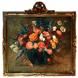 19th-C. Floral Oil Painting on Board