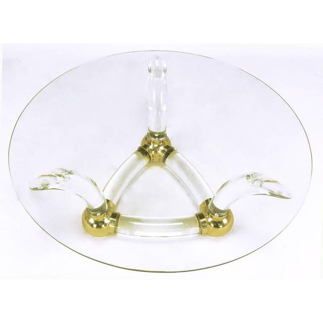 Round Coffee Table With Thick Curved Lucite & Brass Ball Base - Image 4 of 7
