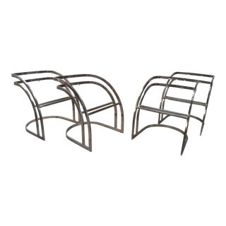 4 Curved Brass Milo Baughman Cantilever Dining Chair Frames