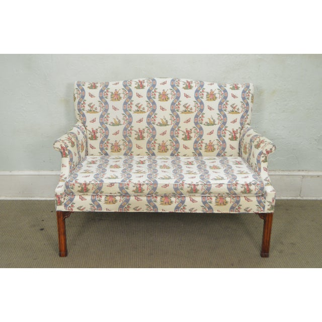Custom Quality Chippendale Style Loveseat - Image 7 of 10