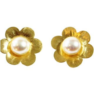 Prince Kamy-Yar French Gold Rosette Clip Earrings
