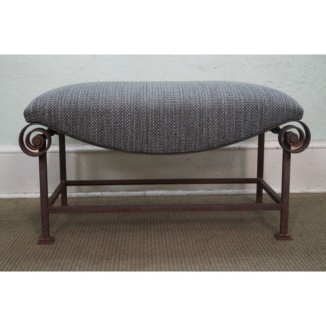 Rustic Scrolled Iron Frame Window Bench - Image 2 of 10