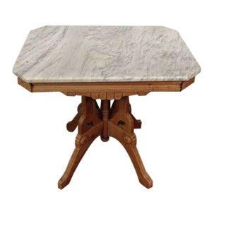 Arts & Crafts Style Carved Oak and Marble Top Side
