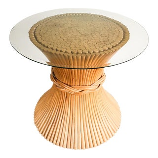 McGuire Round Wheat Sheath Dining Table