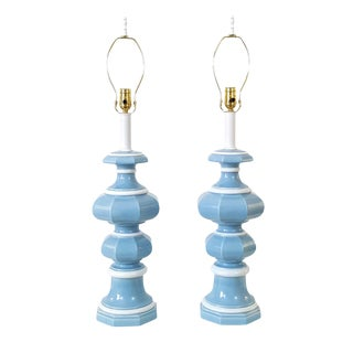 Mid-Century Blue & White Pagoda Lamps - A Pair