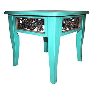 Hand Painted Turquoise Asian Side Table