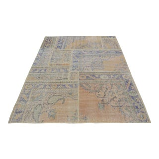 Overdyed Turkish Patchwork Rug - 5′4″ × 7′7″
