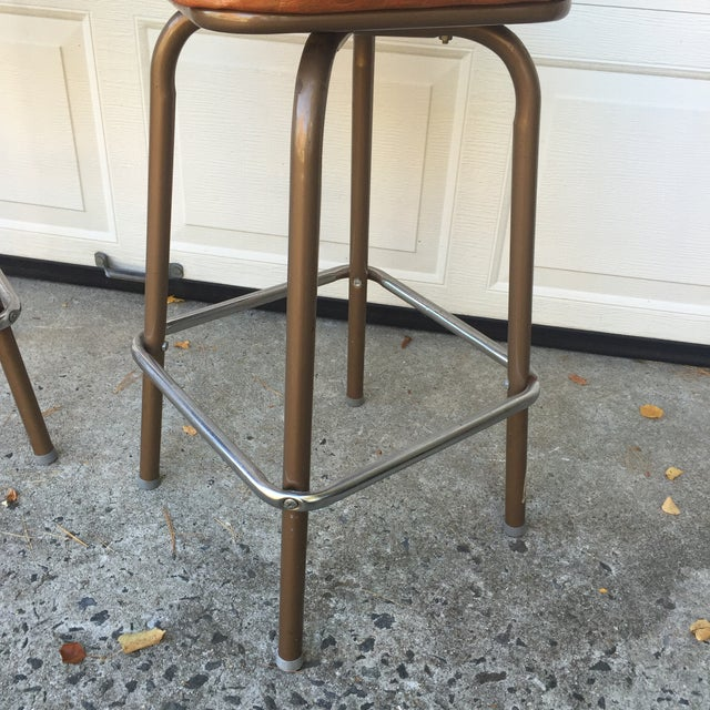 Image of Mid-Century Vinyl Swivel Bar Stools - A Pair
