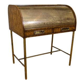 Hollywood Regency Mastercraft Roll Top Brass Bamboo Writing Desk
